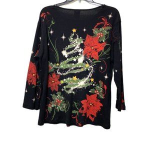 Jess & Jane Holiday Theme Longsleeves Top Size L